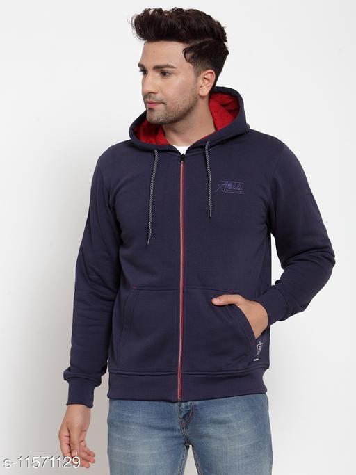 VENITIAN Men Cotton Fleece Hooded Regular Fit Full Sleeve Winter Wear Solid Sweatshirt Navy