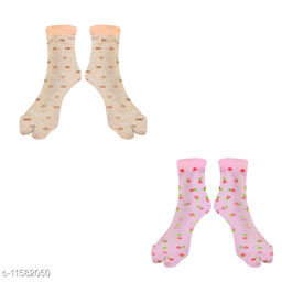 Women Ankle Length Colored Printed Stockings With Thumb (Orange + Pink)