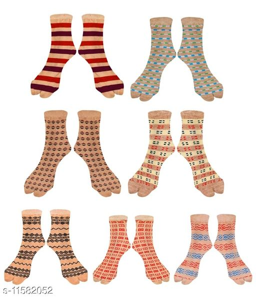 Women Ankle length Thick Cotton Blend Socks with thumb - Assorted design (Pack of 7)