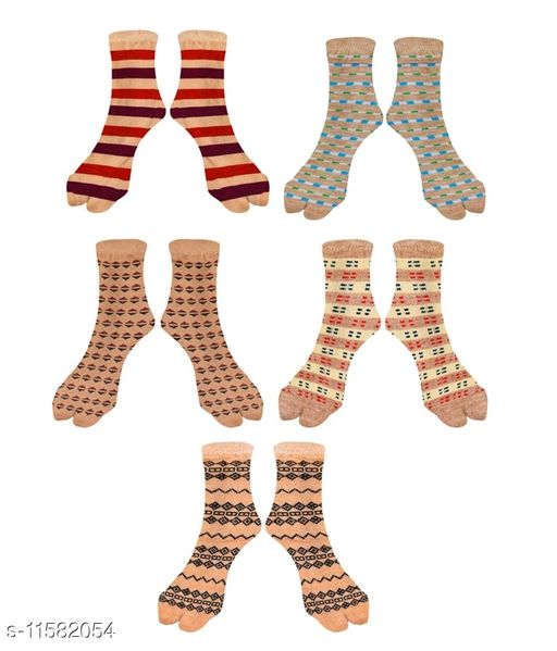 Women Ankle length Thick Cotton Blend Socks with thumb - Assorted design (Pack of 5)