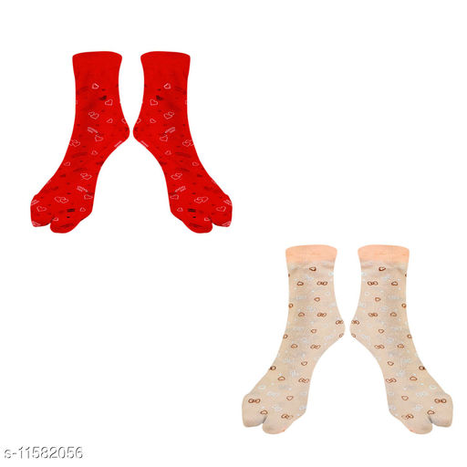Women Ankle Length Colored Printed Stockings With Thumb (Red + Orange)