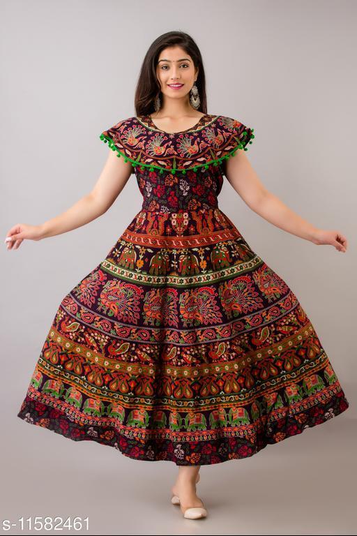 Trendy Cotton Printed Dark Maroon Long Dress with Pom Poms