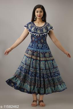 Trendy Cotton Printed Aqua Blue Long Dress with Pom Poms