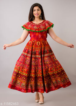 Trendy Cotton Printed Red Long Dress with Pom Poms