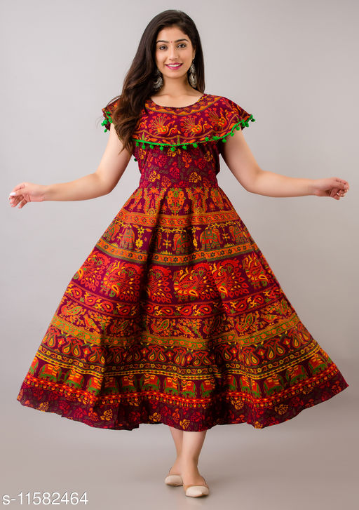 Trendy Cotton Printed Maroon Long Dress with Pom Poms