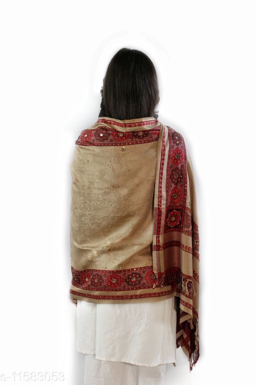 Devi Collection Women's Beige Viscose Embroidered Stoles