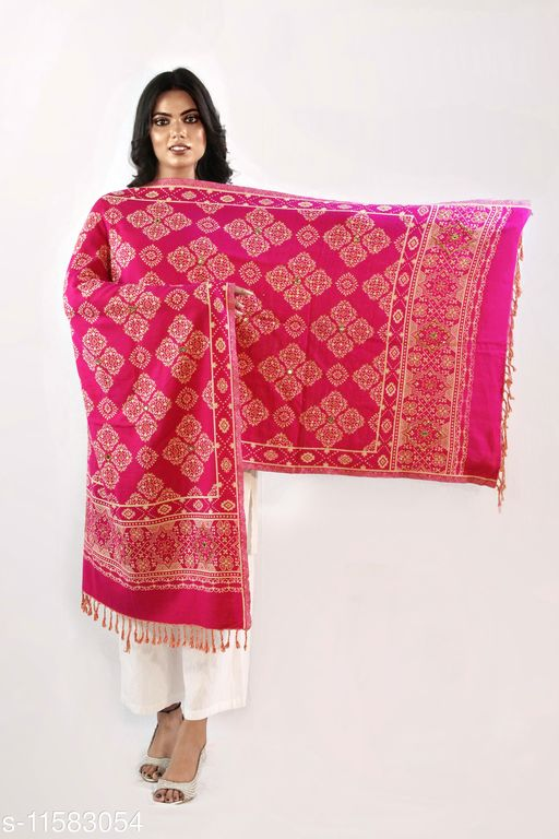 Devi Collection Women's Pink PolyWool Embroidered Stoles