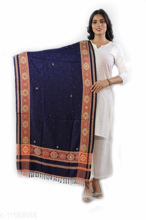 Devi Collection Women's Blue Viscose Embroidered Stoles