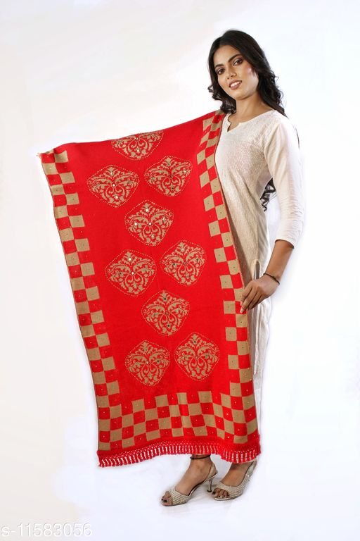 Devi Collection Women's Red Woolen Embroidered Stoles