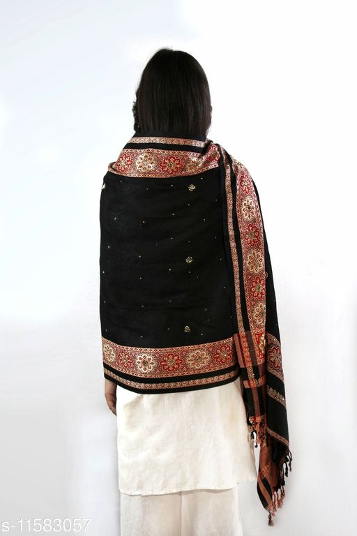Devi Collection Women's Black Viscose Embroidered Stoles