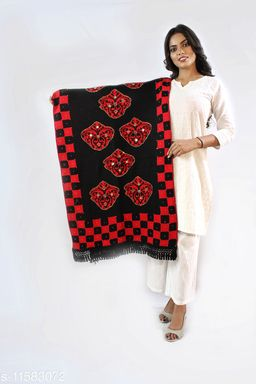 Devi Collection Women's Black And Red Woolen Embroidered Stoles