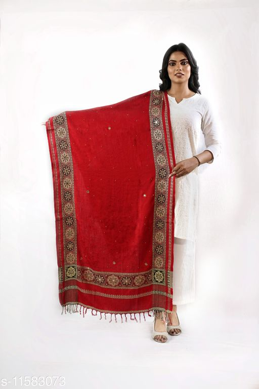 Devi Collection Women's Red Viscose Embroidered Stoles