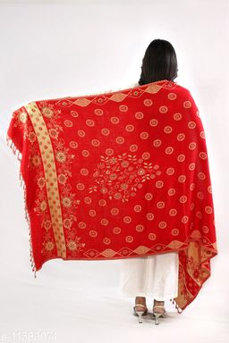 Devi Collection Women's Red PolyWool Embroidered Shawls