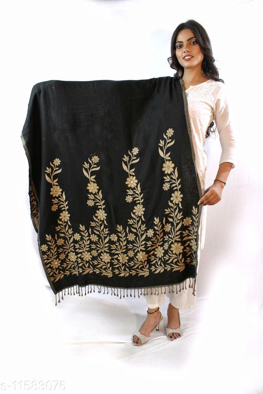 Devi Collection Women's Black PolyWool Embroidered Shawls
