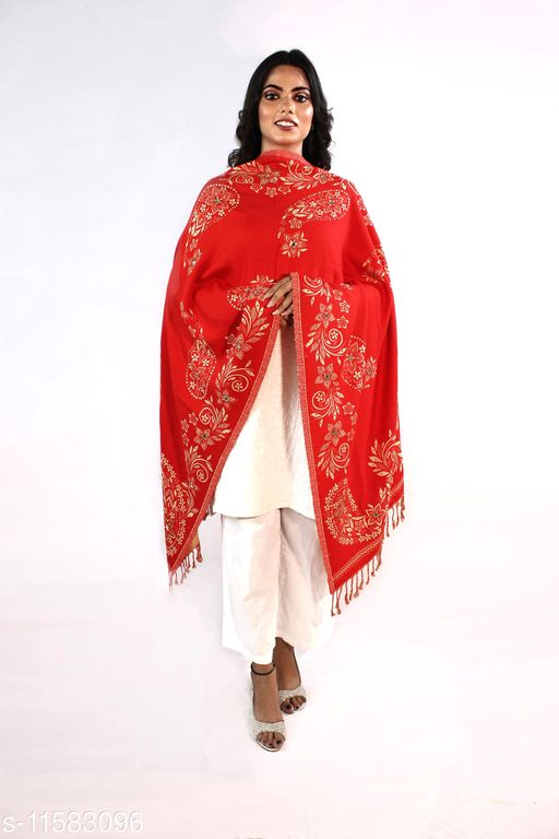 Devi Collection Women's Red PolyWool Embroidered Stoles
