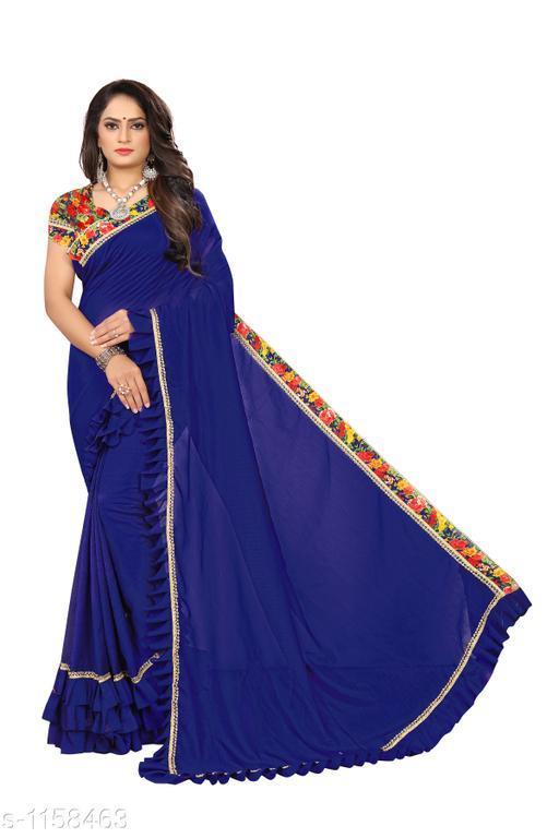 Sarees Fashionable Bridal Saree  *Fabric* Saree - Bridal, Blouse - Bridal  *Size* Saree Length 5.4 Mtr, Blouse - 0.8 Mtr  *Work* Embroidery Work  *Sizes Available* Free Size *    Catalog Name: Chethana Solid Sarees with Ruffle CatalogID_144289 C74-SC1004 Code: 645-1158463-