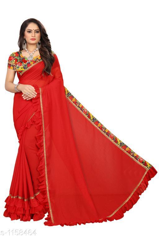 Sarees Fashionable Bridal Saree  *Fabric* Saree - Bridal, Blouse - Bridal  *Size* Saree Length 5.4 Mtr, Blouse - 0.8 Mtr  *Work* Embroidery Work  *Sizes Available* Free Size *    Catalog Name: Chethana Solid Sarees with Ruffle CatalogID_144289 C74-SC1004 Code: 645-1158464-