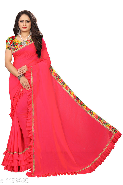 Sarees Fashionable Bridal Saree  *Fabric* Saree - Bridal, Blouse - Bridal  *Size* Saree Length 5.4 Mtr, Blouse - 0.8 Mtr  *Work* Embroidery Work  *Sizes Available* Free Size *    Catalog Name: Chethana Solid Sarees with Ruffle CatalogID_144289 C74-SC1004 Code: 645-1158465-