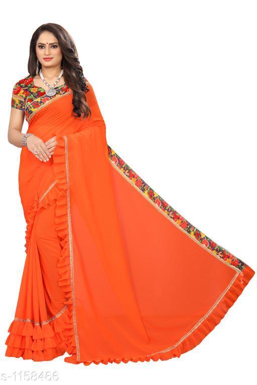 Sarees Fashionable Bridal Saree  *Fabric* Saree - Bridal, Blouse - Bridal  *Size* Saree Length 5.4 Mtr, Blouse - 0.8 Mtr  *Work* Embroidery Work  *Sizes Available* Free Size *    Catalog Name: Chethana Solid Sarees with Ruffle CatalogID_144289 C74-SC1004 Code: 645-1158466-