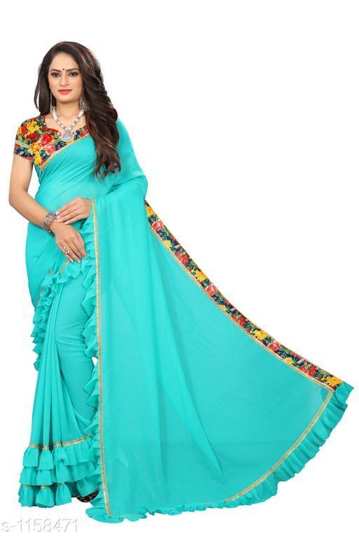 Sarees Fashionable Bridal Saree  *Fabric* Saree - Bridal, Blouse - Bridal  *Size* Saree Length 5.4 Mtr, Blouse - 0.8 Mtr  *Work* Embroidery Work  *Sizes Available* Free Size *    Catalog Name: Chethana Solid Sarees with Ruffle CatalogID_144289 C74-SC1004 Code: 645-1158471-