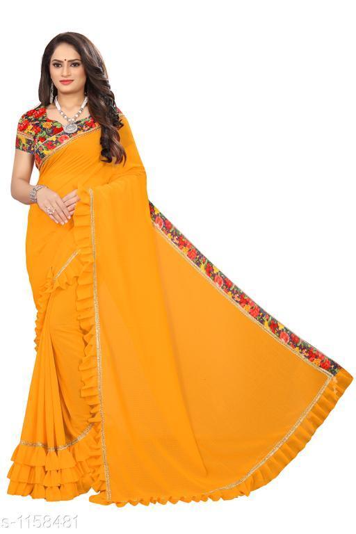 Sarees Fashionable Bridal Saree  *Fabric* Saree - Bridal, Blouse - Bridal  *Size* Saree Length 5.4 Mtr, Blouse - 0.8 Mtr  *Work* Embroidery Work  *Sizes Available* Free Size *    Catalog Name: Chethana Solid Sarees with Ruffle CatalogID_144289 C74-SC1004 Code: 645-1158481-