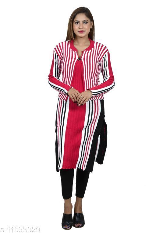 Women Wool A-line Stripe Kurti