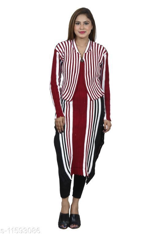 Women Wool Crop Top Kurti Stripe Kurti