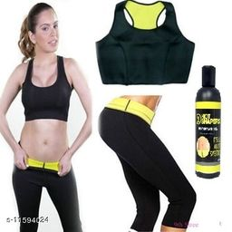 Play Run World Combo Offer Hot Shapers Slimming Bra   Hot Shaper Pant With Gel   Size:- 32-XL