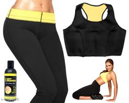 Play Run Tummy Control Pant+Bra Waist Trainer One Set Thermal Slimming Body Shaper Gel   Size:- 32-XL
