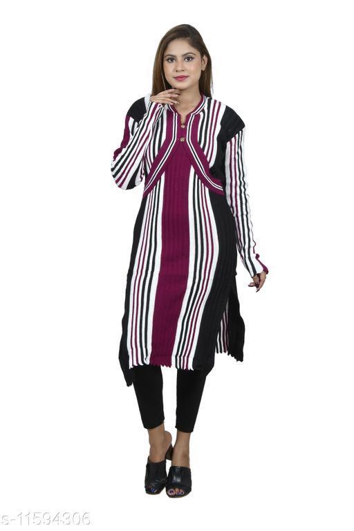 Women Wool Straight Stripe Kurti