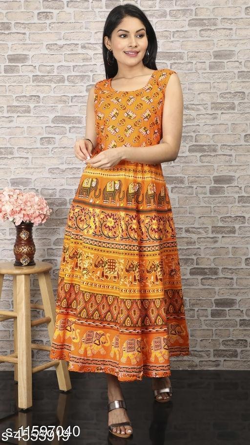 Women Cotton Flared Printed Orange Kurti