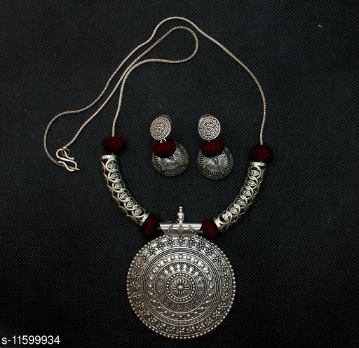 Silver Oxidised Necklace with Earrings