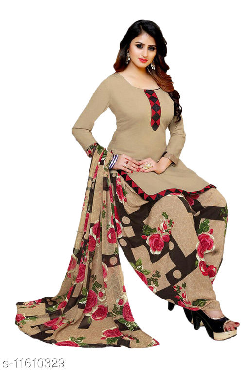 WOMEN'S STYLISH FRENCH CREPE LEONE UNSTITCHED DRESS MATERIAL WITH TOP BOTTOM & DUPATTA