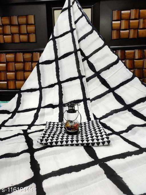 Kiaaron Women's Cotton Printed Saree with Unstiched Blouse Piece