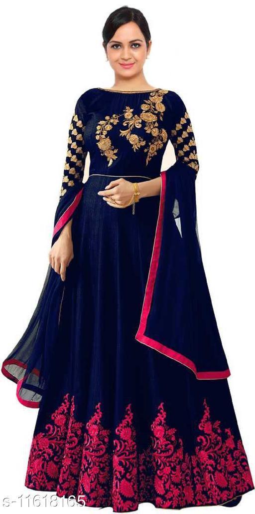Embroidered Semi Stitched Anarkali Dress