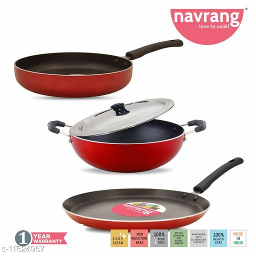 Navrang Non Stick Aluminium Kadai 230mm , Tawa 275mm , Frypan 230 mm With Ss Lid Red NON-INDUCTION
