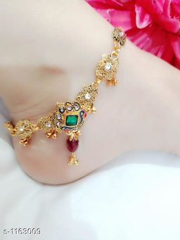 Women's Alloy Oxidised Gold Anklets & Toe Rings