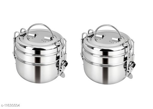 Kitchen4U Stainless Steel 2 Tier Indian Tiffin Food Storage Container (Set of Two Lunch Box