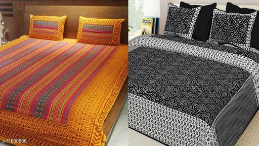 Jaipuri Double Bed Bedsheet Combo Pack 2 Bedsheet set with 4 pillow cover