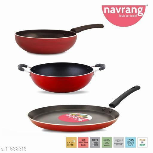 Navrang Nonstick Aluminium 3 PC MINI Cookware Set ,Tawa 260 + Kadai 200 + Fry Pan 200,Red NON-INDUCTION