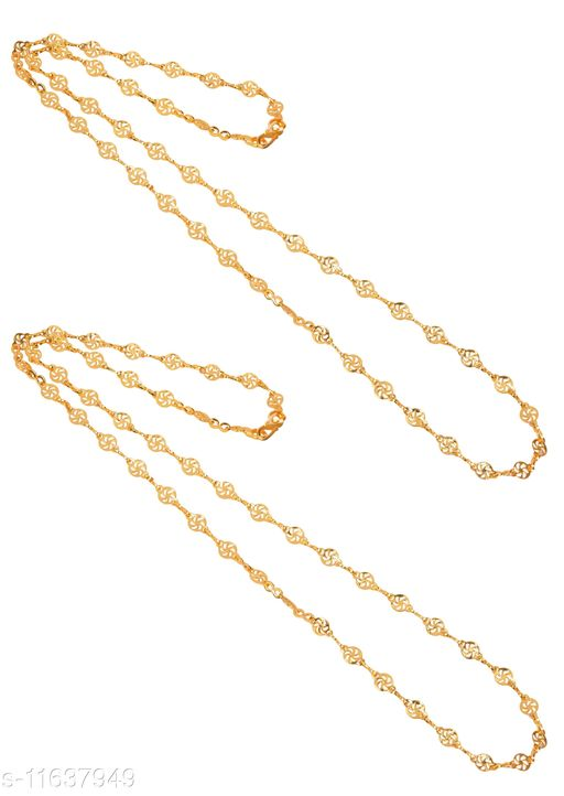 AanyaCentric 28 inches Long Combo of 2 Trendy Fancy Stylish Necklace Chains for Women Girls