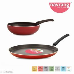 Navrang Nonstick Aluminium 2 PC Cookware Set ,Tawa 260 + Fry Pan 200,Red -Non Induction