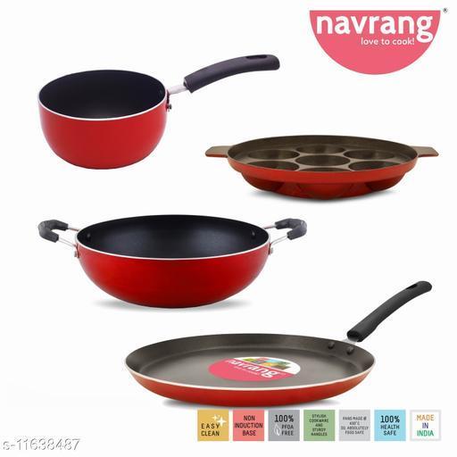 Navrang non stick dosa tawa 270+kadai 230+sauce pan+Appakara, Red - Non industion