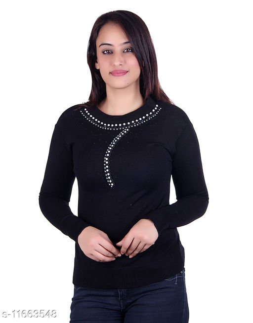 Ogarti woollen full sleeve round neck Black Women's Sweater
