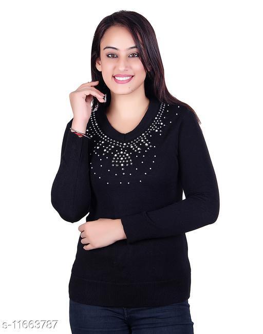 Ogarti woollen full sleeve V Neck Black Women's Sweater