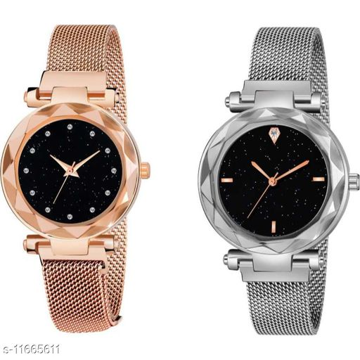 MMD Luxury Mesh Magnet Buckle Starry sky Quartz Watches For girls Fashion Mysterious 12 diamouns rose gold & 4 Figar Silver Lady Designer Fashion Wrist Analog Pack of 2 Women Watch