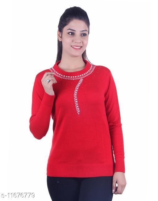 Ogarti woollen full sleeve round neck Red Women's Sweater