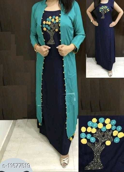 Women's Rayon Embroidered Blue Shrug Kurti