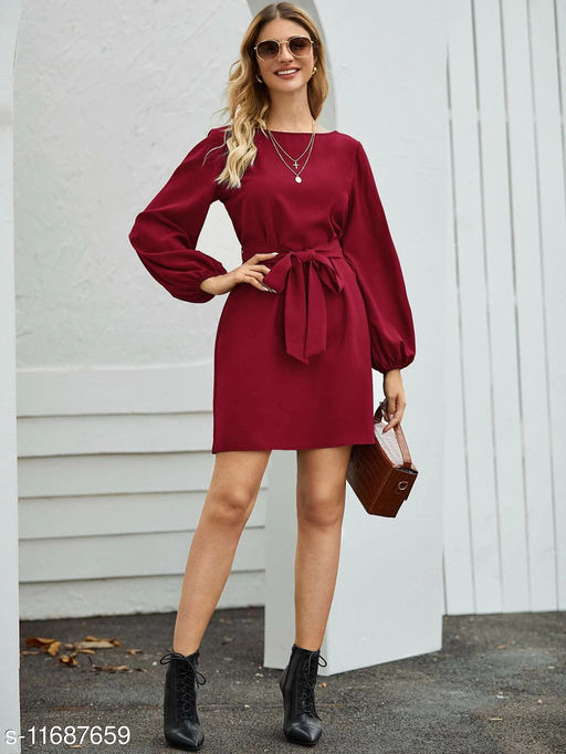 Belted Bishop Sleeve Mini Dress