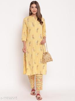 Stylum Women's Floral Print Rayon Straight Kurta Pant Set (Lemon Yellow)